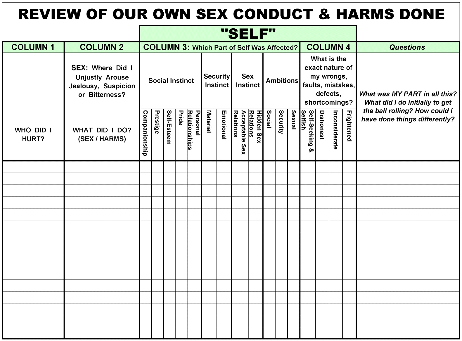 Free Worksheet Al Anon 12 Steps Worksheets step4 worksheet sexconduct harmsdone welcome to 12stepping org harmsdone